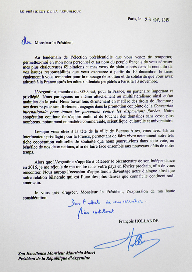 Carta de Hollande a Macri