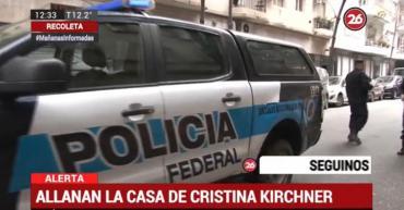EN VIVO minuto a minuto: allanamiento en la casa de Cristina Kirchner