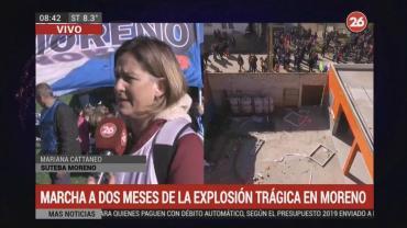 Marcha de docentes de Moreno a dos meses de la trágica explosión en una escuela