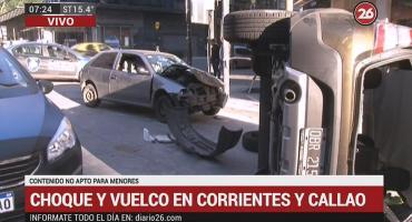 Violento choque y vuelco en centro porteño: un conductor estaba alcoholizado