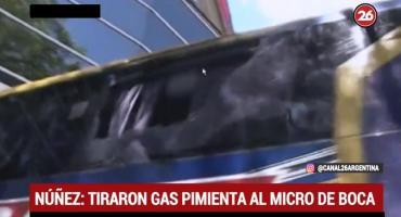 Atacaron al micro de Boca: vidrios rotos, gas lacrimógeno y jugadores afectados