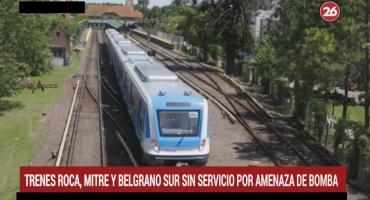 Servicio de trenes Roca, Mitre y Belgrano interrumpidos por amenaza de bomba