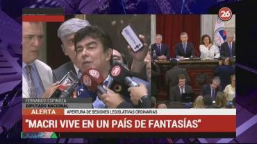"""Espinoza, tras apertura de sesiones ordinarias: """"Macri vive en un país de fantasía"""""""