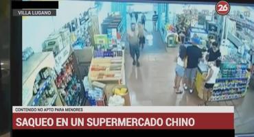 Violento robo piraña en masa a un supermercado chino