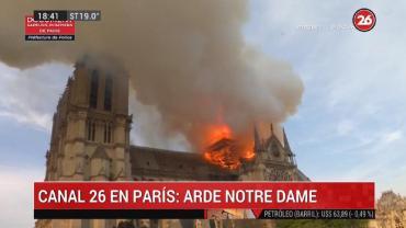 Canal 26 en París, incendio de la Catedral de Notre Dame