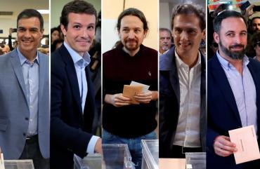Elecciones en España: lucha reñida de cinco candidatos por la presidencia