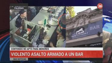 Fugaz y violento asalto en bar de Palermo: robaron toda la recaudación en 45 segundos