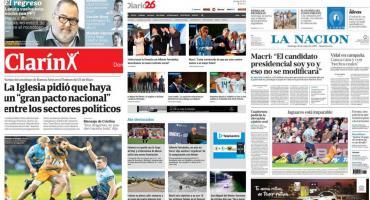 Tapas de diarios argentinos: Tedeum por 25 de Mayo y acto Fernández-Fernández