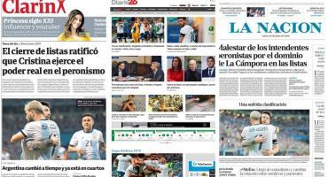 Tapas de diarios argentinos: triunfo de la Selección y repercusiones de cierre de listas
