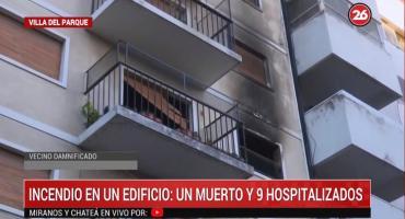 Incendio en un edificio en Villa del Parque: un muerto y nueve heridos