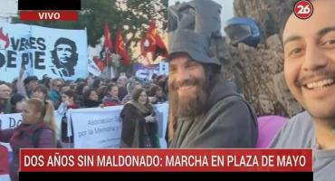 Dos años sin Santiago Maldonado: familiares y agrupaciones marcharon en Plaza de Mayo