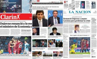 Tapas de diarios argentinos: renuncia de Dujovne y designación de Lacunza