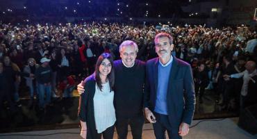 Alberto Fernández junto a Randazzo y Alonso en Chivilcoy