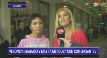 Verónica Magario y Mayra Mendoza con comerciantes: