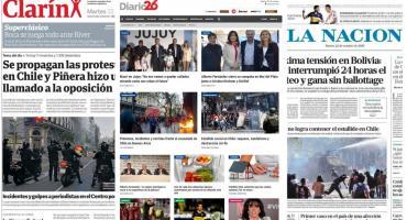 Tapa de diarios argentinos: protestas en Chile y previa Boca-River