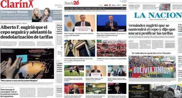 Tapas de diarios argentinos: Alberto Fernández con López Obrador y Macri con Gabinete ampliado