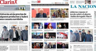 Tapas de diarios argentinos: nuevo protocolo de aborto no punible, inflación y Evo Morales en Argentina
