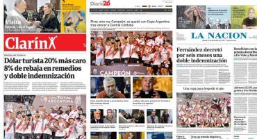 Tapas de diarios argentinos: River Plate campeón de la Copa Argentina