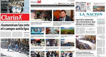 Tapas de diarios argentinos: ataque motochorro a turistas ingleses y retenciones al campo