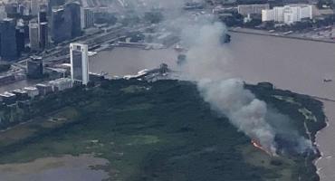 Puerto Madero: se incendió la Reserva Ecológica, el humo cubrió cinco barrios