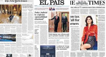 Tapas de diarios del mundo: renuncia de ministro ruso y tensión en Venezuela