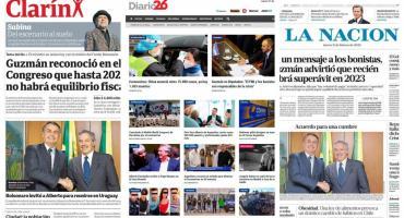 Tapa de diarios argentinos: Guzmán en el congreso crimen de Villa Gesell