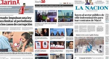 Tapas de diarios argentinos: novedades de crimen en Gesell y anuncios del Gobierno