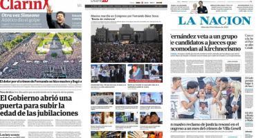 Tapas de diarios argentinos: multitudinaria marcha frente al Congreso por Fernando