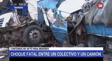 Trágico choque en ruta 24 entre colectivo y camión: dos muertos