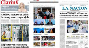 Tapas de diarios argentinos: anuncio de medidas del Gobierno y nuevos casos de coronavirus