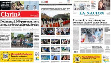 Tapas de diarios argentinos: foco en los controles de cuarentena por Coronavirus
