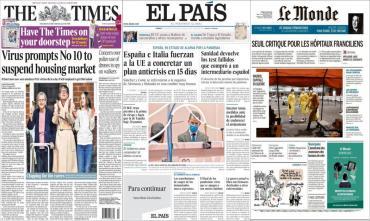 Tapas de diarios del mundo: crisis en Europa y ola de casos de coronavirus en EE.UU.