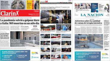Tapas de diarios argentinos: nuevos casos de coronavirus y el mensaje del Papa
