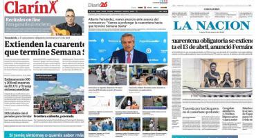 Tapas de diarios argentinos: AlbertoFernández anunció extensión de cuarentena obligatoria