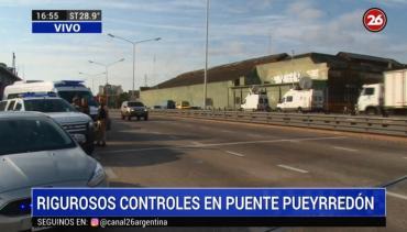 Cuarentena por coronavirus: rigurosos controles en el Puente Pueyrredón