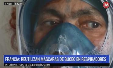 Coronavirus en Francia: reutilizan máscaras de buceo en respiradores