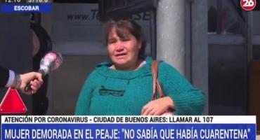 Mujer demorada en el peaje por violar la cuarentena: