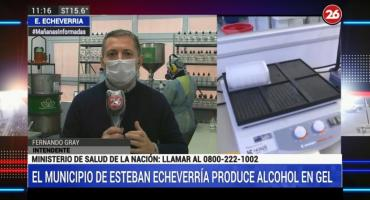 Municipio de Esteban Echeverría produce alcohol en gel: