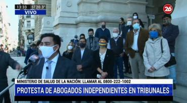 Protesta de abogados independientes en Tribunales: piden fin de feria judicial extraordinaria