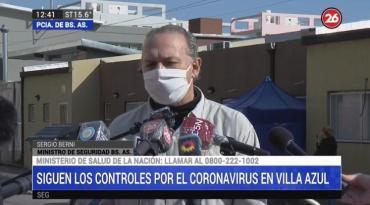 Berni en Villa Azul por los contagios de coronavirus: