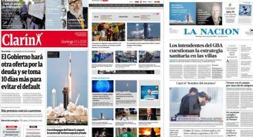 Tapas de diarios argentinos: récord de casos de coronavirus y despegue de la NASA y SpaceX