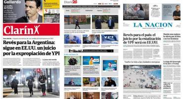 Tapas de diarios argentinos: juicio por la expropiación de YPF seguirá en EEUU