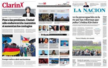 Tapas de diarios argentinos: Alberto Fernández extendería cuarentena hasta el 12 de julio