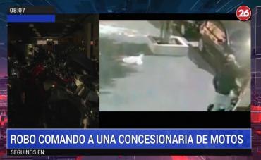 Robo comando en concesionaria de Colegiales: rompieron la vidriera y se llevaron varias motos