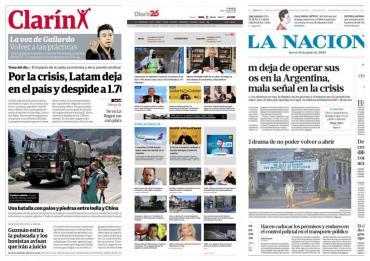 Tapas de diarios argentinos: el transporte público se habilita sólo para trabajadores esenciales