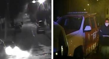 VIDEO de cámara de seguridad: alcoholizado perdió el control de su auto y chocó con columna