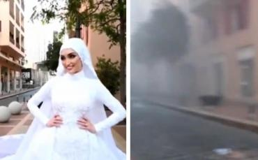 IMPACTANTE VIDEO: novia se filmaba para su boda al momento de la terrible explosión en El Líbano