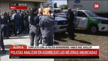 Policías analizan en asambleas las mejoras anunciadas por el gobernador Kicillof