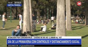 Día de la Primavera en cuarentena: poca gente, distanciamiento y rigurosos controles en parques de la Ciudad