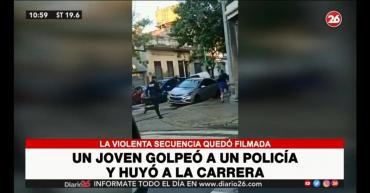 Agresión en Barracas: un joven golpeó a un policía y huyó a la carrera